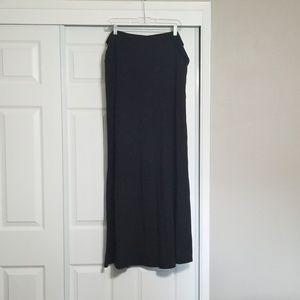Black extra long foldover waist maxi skirt